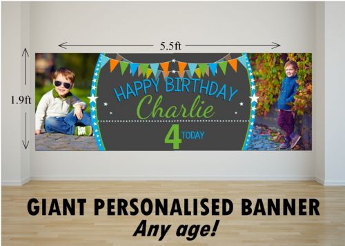 Personalised GIANT Large Boys Bunting & Balloons Happy Birthday PHOTO Poster Banner N55 ANY AGE